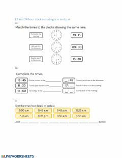 Interactive worksheet Consolidation 24 hour