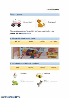 Interactive worksheet las onomatopeyas