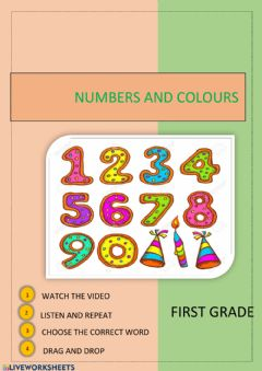 Interactive worksheet Numbers and colours. First grade