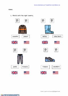 Interactive worksheet Uk us clothes differences
