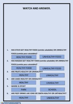 Interactive worksheet Healthy and unhealthy food with Steve and Maggie