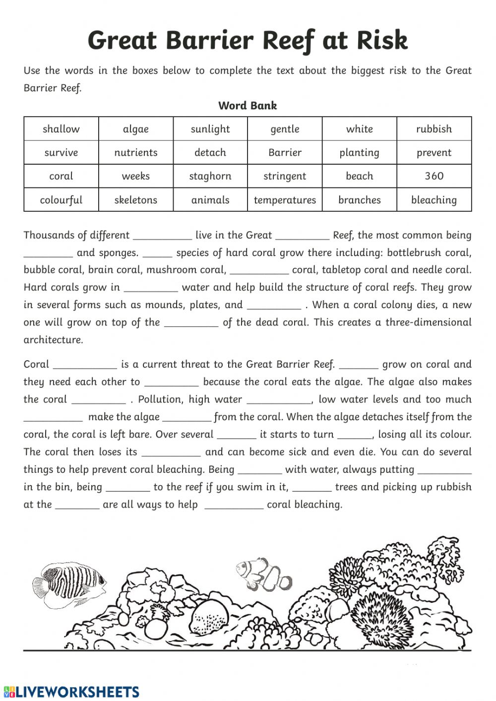The Great Barrier Reef - Interactive worksheet