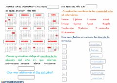 Interactive worksheet Calendario. Nivel 1 OAOA