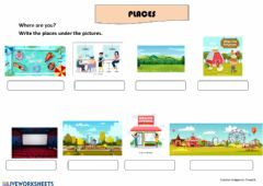 Interactive worksheet Places - Writing