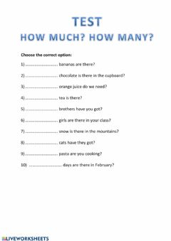 Interactive worksheet How much-How many