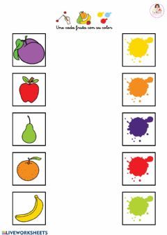 Interactive worksheet Une cada fruta con su color