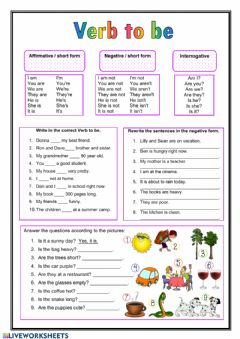 Interactive worksheet Present simple verb to be
