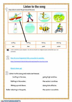 Interactive worksheet Listen to the song:  'busy buzz song'