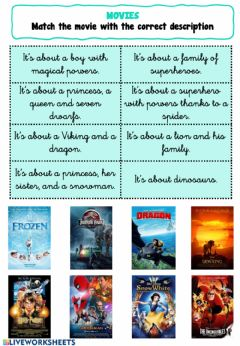 Interactive worksheet Movies - Page 1