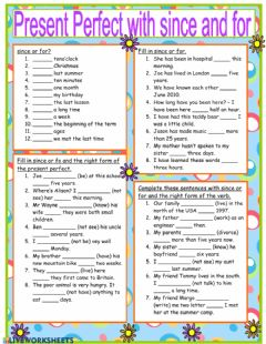 Interactive worksheet Present Perfect: since and for