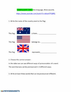 Interactive worksheet One language, three accents.