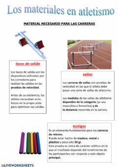 Ficha interactiva Atletismo - Los materiales