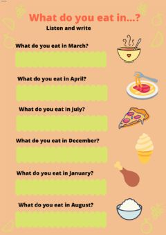 Interactive worksheet What do you eat in...?