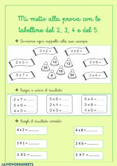 Interactive worksheet Tabelline del 2, 3 , 4, 5