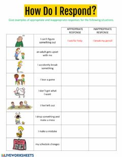 Interactive worksheet How Do I Respond?