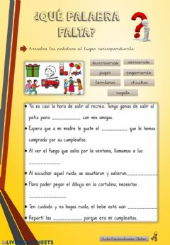 Interactive worksheet ¿Qué palabra falta?