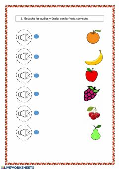 Interactive worksheet Unir fruta inglés