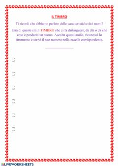 Interactive worksheet Il timbro