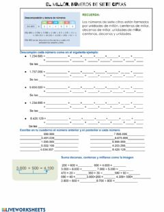 Interactive worksheet Números Naturales hasta 7 cifras