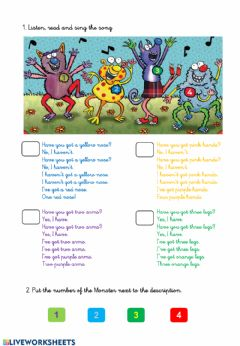 Interactive worksheet -Have you got- song