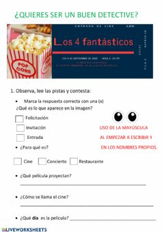 Interactive worksheet Entrada de cine