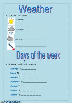 Ficha interactiva Weather and days of the week