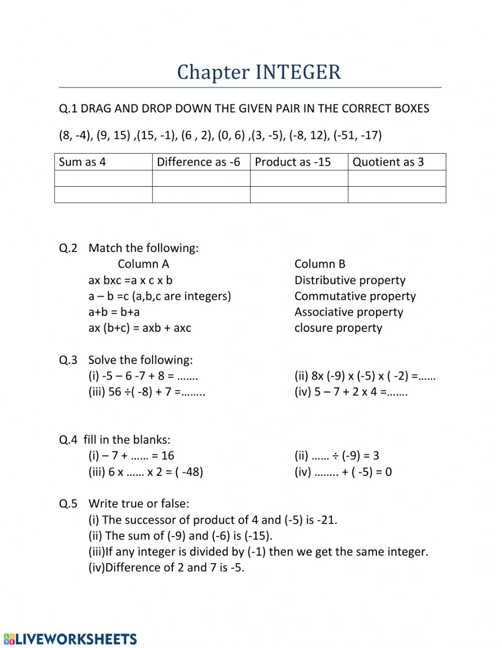 Integer Worksheet