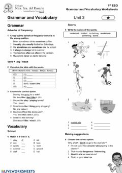 Interactive worksheet Unit 3 1º ESO one star