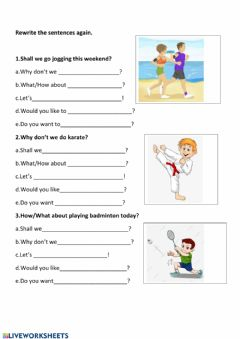Interactive worksheet Suggestions