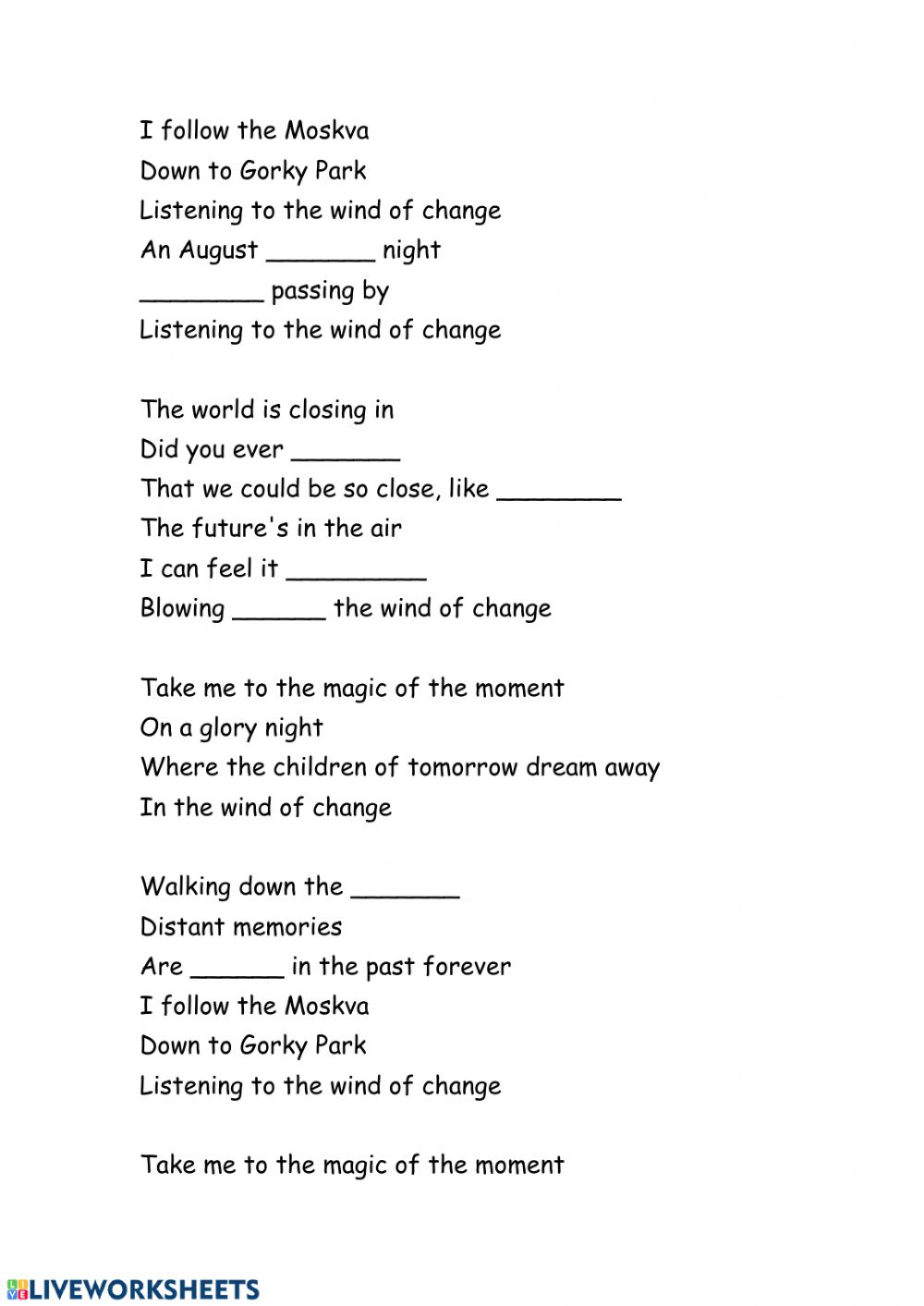 Wind Of Change Worksheet