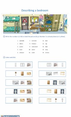 Interactive worksheet Describing a Bedroom