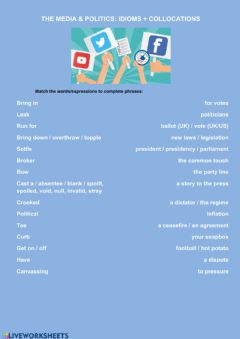 Ficha interactiva Politics and the media idioms + collocations
