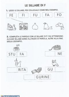 Interactive worksheet Le sillabe F