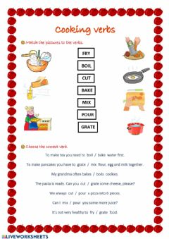 Ficha interactiva Cooking verbs