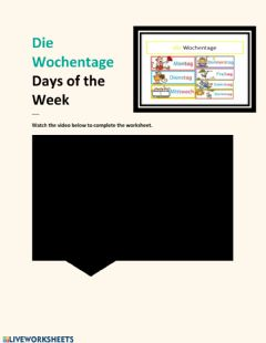Interactive worksheet Wochentage Video Lesson -2