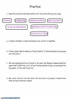 Interactive worksheet Social skill