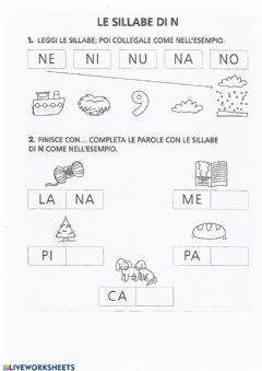 Interactive worksheet Le sillabe N