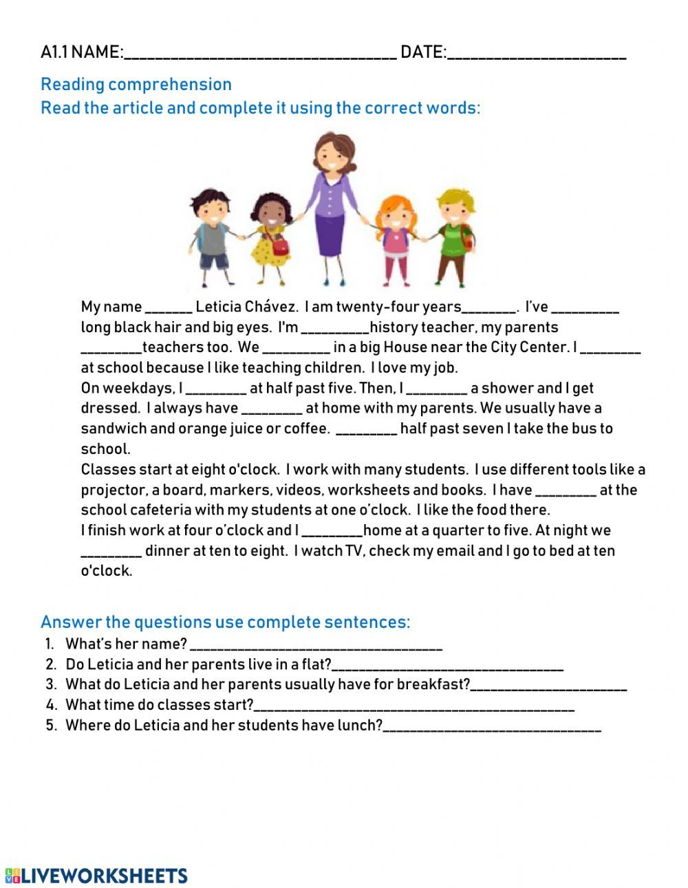 - Reading Comprehension A1.1 - Interactive Worksheet