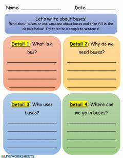 Interactive worksheet Writing About Buses