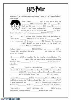 Interactive worksheet Simple Past Harry Potter