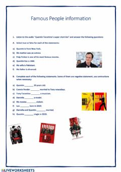 Interactive worksheet Famous people info