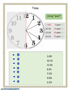 Ficha interactiva Telling Clock Time with -past- -half past- and -a quarter past-