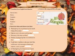 Interactive worksheet Thanksgiving Day