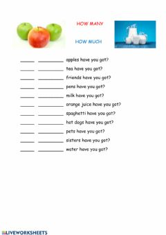 Interactive worksheet How much, How many