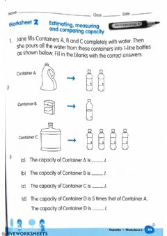 Interactive worksheet Estimating,Measuring and Comparing Capacity