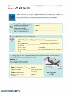 Interactive worksheet Unit 4 Lesson 2 A flight incident - Types of planes