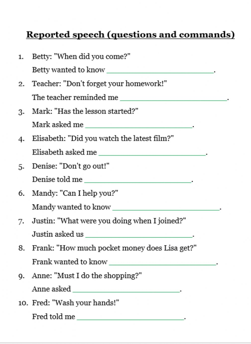 Reported Speech Questions And Commands Worksheet