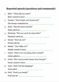 Interactive worksheet Reported Speech (questions and commands)