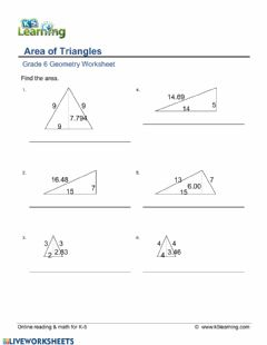 Interactive worksheet Area of Triangles