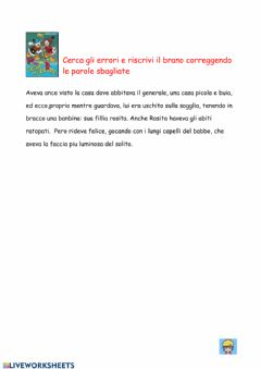 Interactive worksheet Caccia all'errore